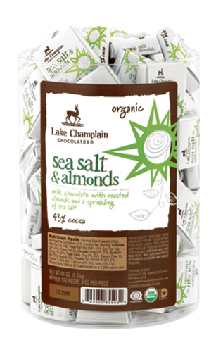 Lake Champlain Chocolate Organic Milk & Almonds w/sea salt  Squares - 106/pc