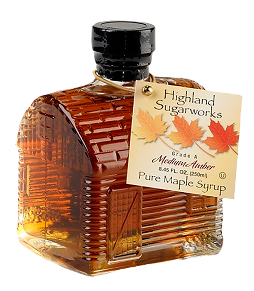 Highland Sugarworks Maple Glass Log Cabin Bottle