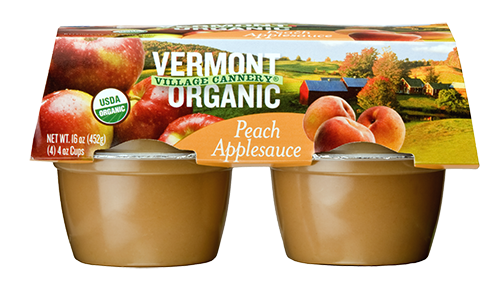 Vermont Village Cannery 4 Pack Organic Peach Applesauce Cups
