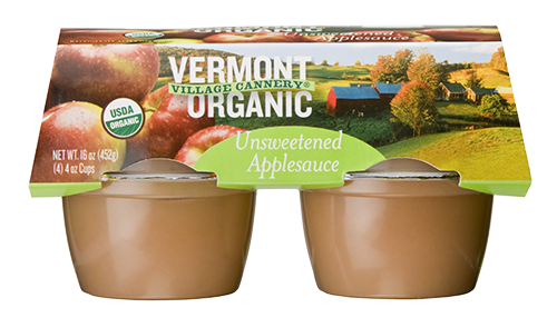 Vermont Village Cannery 4 Pack Organic Unsweetened Applesauce Cups